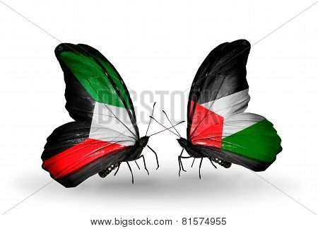 Two Butterflies With Flags On Wings As Symbol Of Relations Kuwait And Palestine