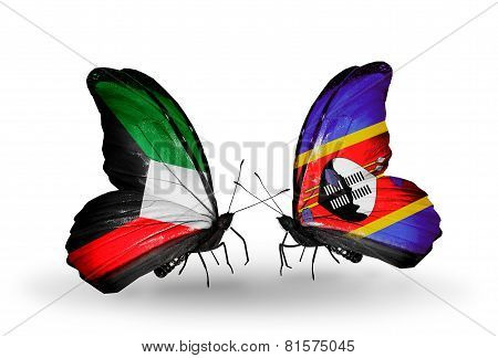 Two Butterflies With Flags On Wings As Symbol Of Relations Kuwait And Swaziland