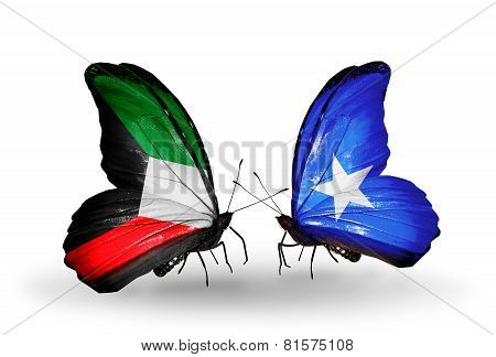 Two Butterflies With Flags On Wings As Symbol Of Relations Kuwait And Somalia