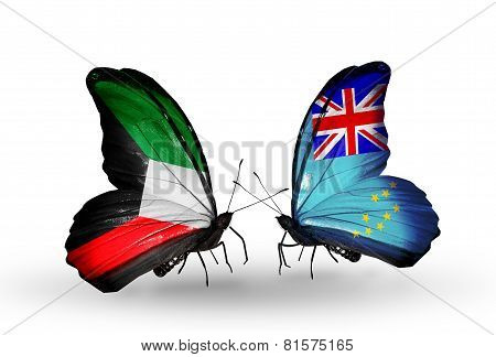 Two Butterflies With Flags On Wings As Symbol Of Relations Kuwait And Tuvalu