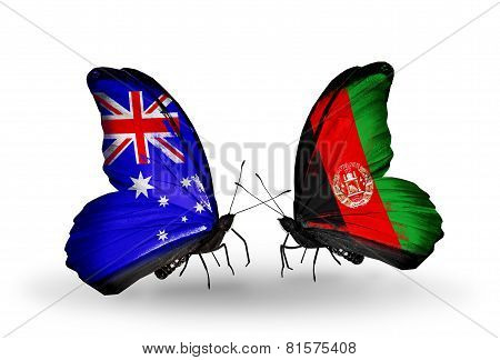 Two Butterflies With Flags On Wings As Symbol Of Relations Australia And Afghanistan