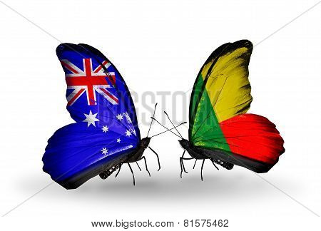 Two Butterflies With Flags On Wings As Symbol Of Relations Australia And Benin