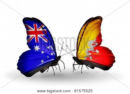 Two Butterflies With Flags On Wings As Symbol Of Relations Australia And Bhutan