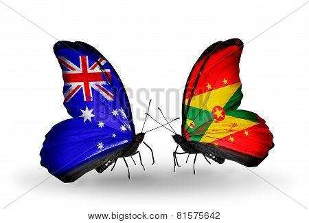 Two Butterflies With Flags On Wings As Symbol Of Relations Australia And Grenada