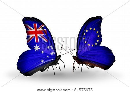 Two Butterflies With Flags On Wings As Symbol Of Relations Australia And European Union