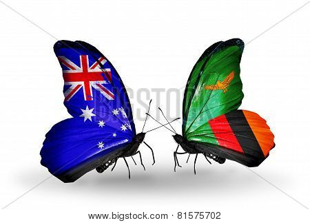 Two Butterflies With Flags On Wings As Symbol Of Relations Australia And Zambia