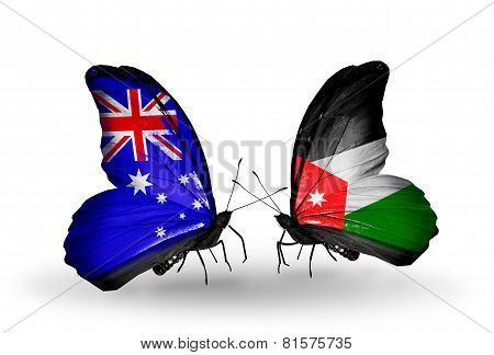 Two Butterflies With Flags On Wings As Symbol Of Relations Australia And  Jordan