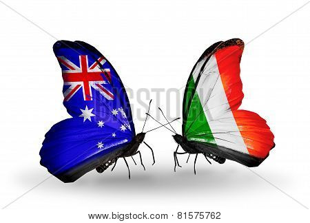 Two Butterflies With Flags On Wings As Symbol Of Relations Australia And Ireland