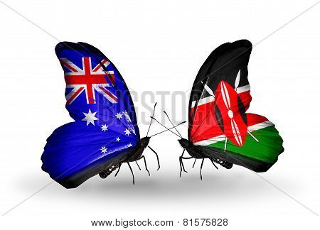 Two Butterflies With Flags On Wings As Symbol Of Relations Australia And Kenya