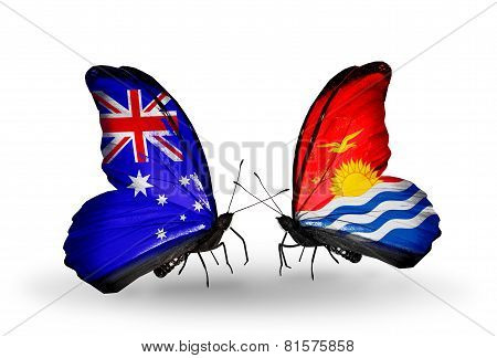 Two Butterflies With Flags On Wings As Symbol Of Relations Australia And Kiribati