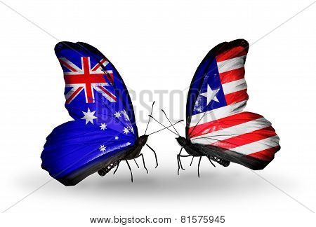 Two Butterflies With Flags On Wings As Symbol Of Relations Australia And Liberia