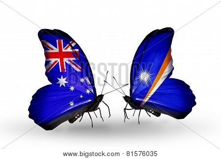 Two Butterflies With Flags On Wings As Symbol Of Relations Australia And Marshall Islands