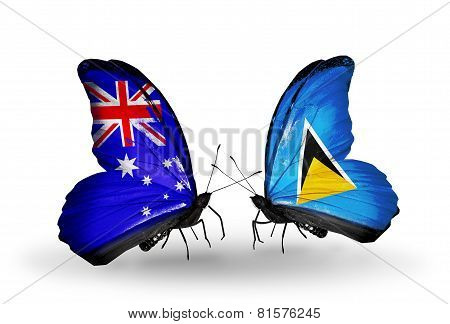 Two Butterflies With Flags On Wings As Symbol Of Relations Australia And  Saint Lucia