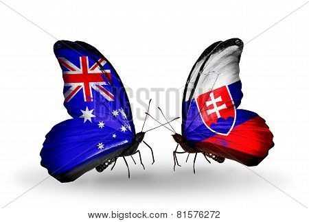 Two Butterflies With Flags On Wings As Symbol Of Relations Australia And Slovakia