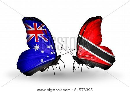 Two Butterflies With Flags On Wings As Symbol Of Relations Australia And Trinidad And Tobago