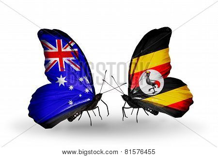 Two Butterflies With Flags On Wings As Symbol Of Relations Australia And Uganda