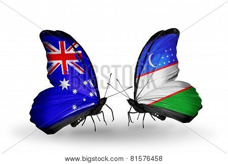 Two Butterflies With Flags On Wings As Symbol Of Relations Australia And Uzbekistan