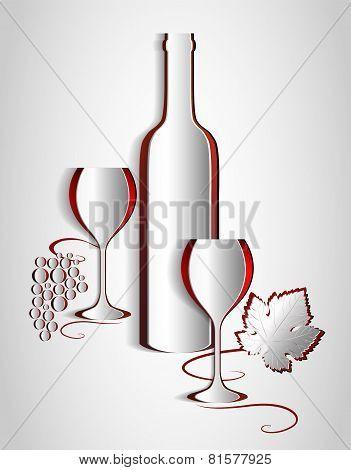 Paper Wine List Design. Vine Abstract. Vector.
