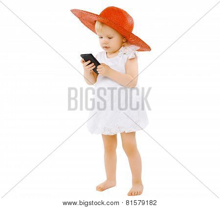 Vacation, Travel, Technology And People Concept  - Little Lady Girl Child In A Red Hat And White Dre