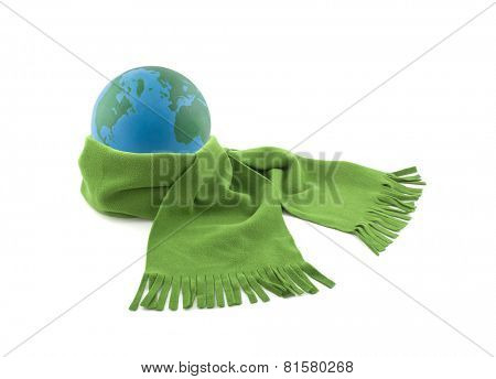 Earth wrapped in a scarf isolated on white