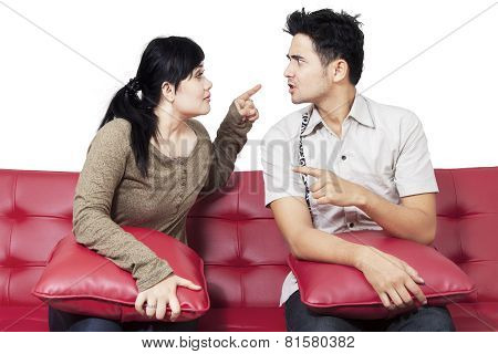 Angry Couple Blame Each Other