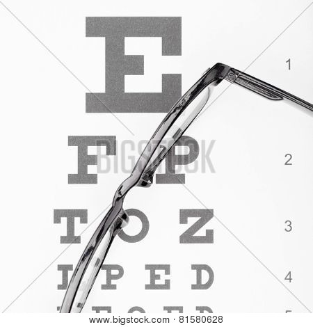 Eyesight Test Table With Glasses Over It