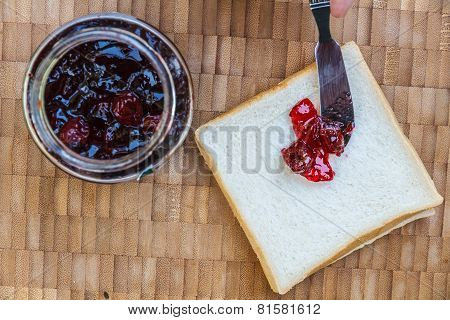 Sandwich Bread And Cherry Jam