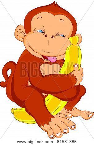 cute monkey cartoon holding banana