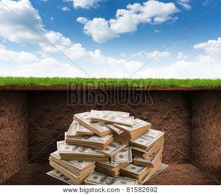 Treasure room with money
