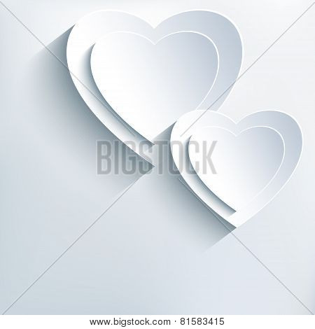 Modern Grey Background With White Paper 3D Hearts