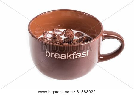 Cornflakes In Breakfast Cup  Isolated On White Background