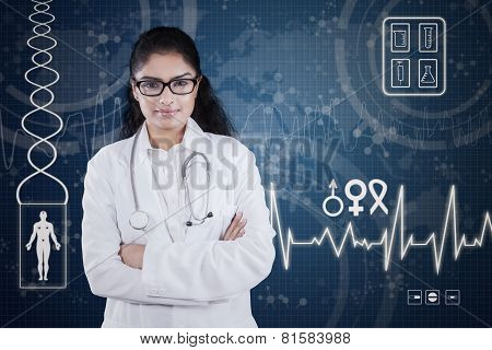 Confident Female Doctor With Futuristic Screen