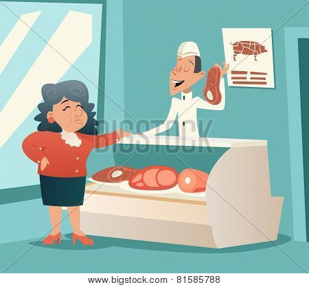 Granny Old Woman in Meat Shop Talk with Seller Retro Vintage Cartoon Character Icon on Stylish Backg