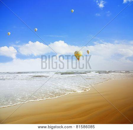 Air Balloons Over The Sea