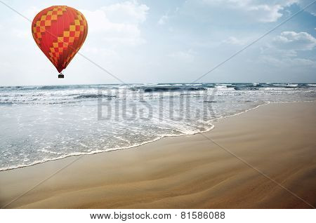 Air Balloon Over The Sea