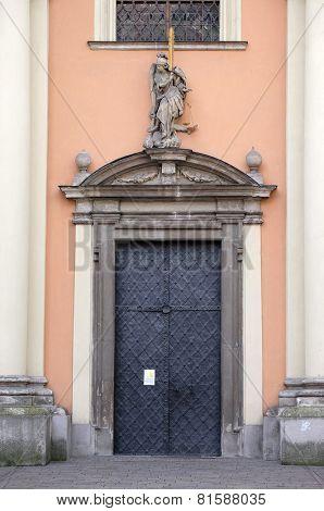 GRAZ, AUSTRIA - JANUARY 10, 2015: Portal of Dreifaltigkeitskirche ( Holy Trinity ) church in Graz, Styria, Austria on January 10, 2015.