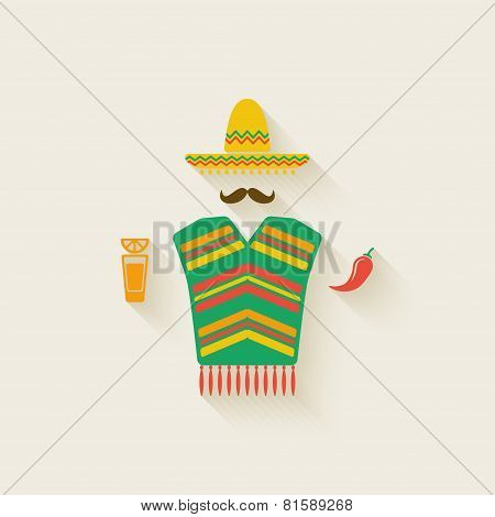 Mexican man with tequila and chili pepper