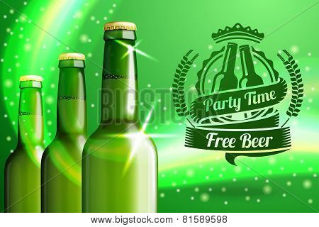 Banner for beer advertisement with three realistic green bottles.