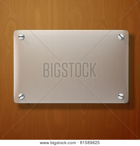 Vector frosted glass plate on wooden background.