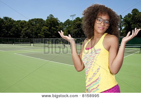 Woman At Tennis Court