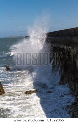 Waves Crashing Against Holyhead Breakwater.