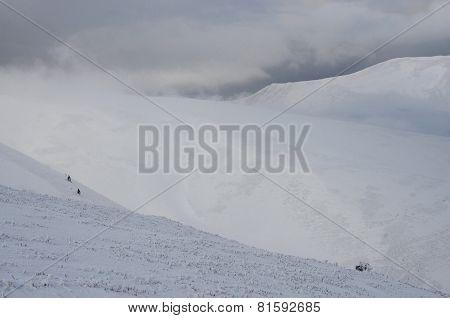 Great Winter Storm Landscape On The Slope Of Gemba Mountain, Transcarpathian, Western Ukraine