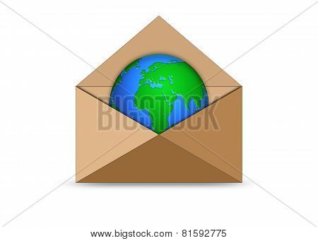 Planet Earth In An Envelope
