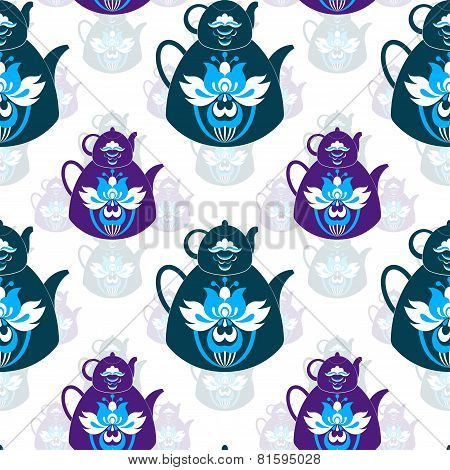 Seamless Pattern Of Pots And Flowers On An Isolated White Background
