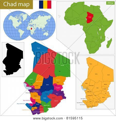 Chad map with high detail and accuracy and it is divided into provinces which are colored with different bright colors