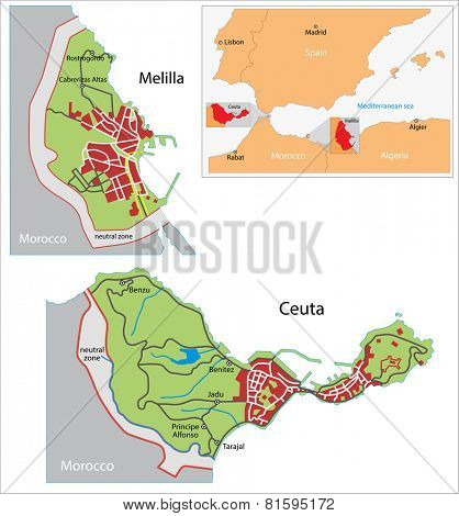 Illustration of a autonomous city of Ceuta and Melilla