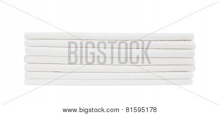 White Sheets In Stack Isolated Over White