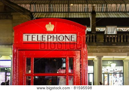 London, Red Telephone Box In Covent Garden