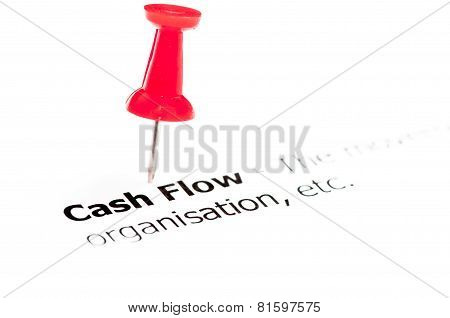 Closeup Shot Over Words Cash Flow On Paper