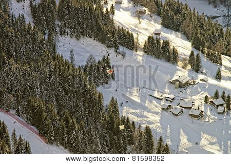 Aerial View To The Swiss Mountain Slope